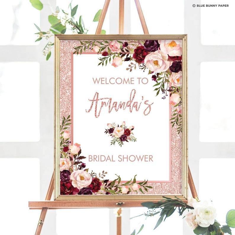 Floral Rose Gold & Burgundy Welcome Sign