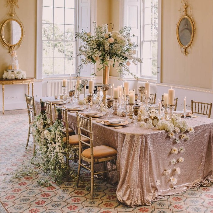 Glamorous Champagne Sequin Tablecloth Wedding Table Decor
