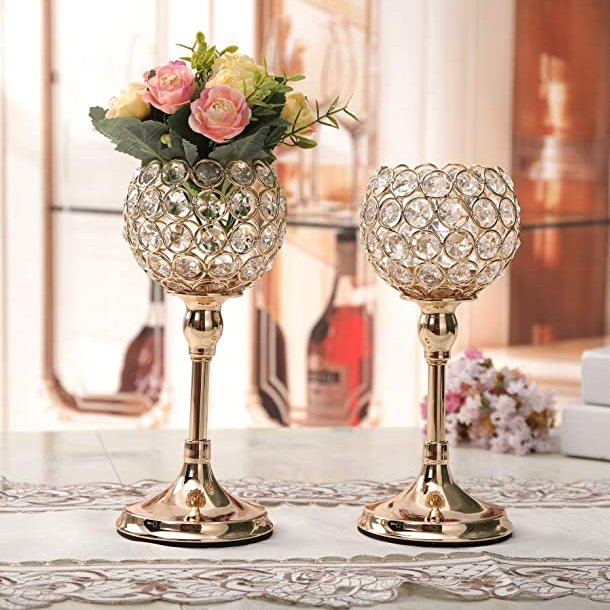 Gold Crystal Candle Holders Champagne Wedding Table Decor
