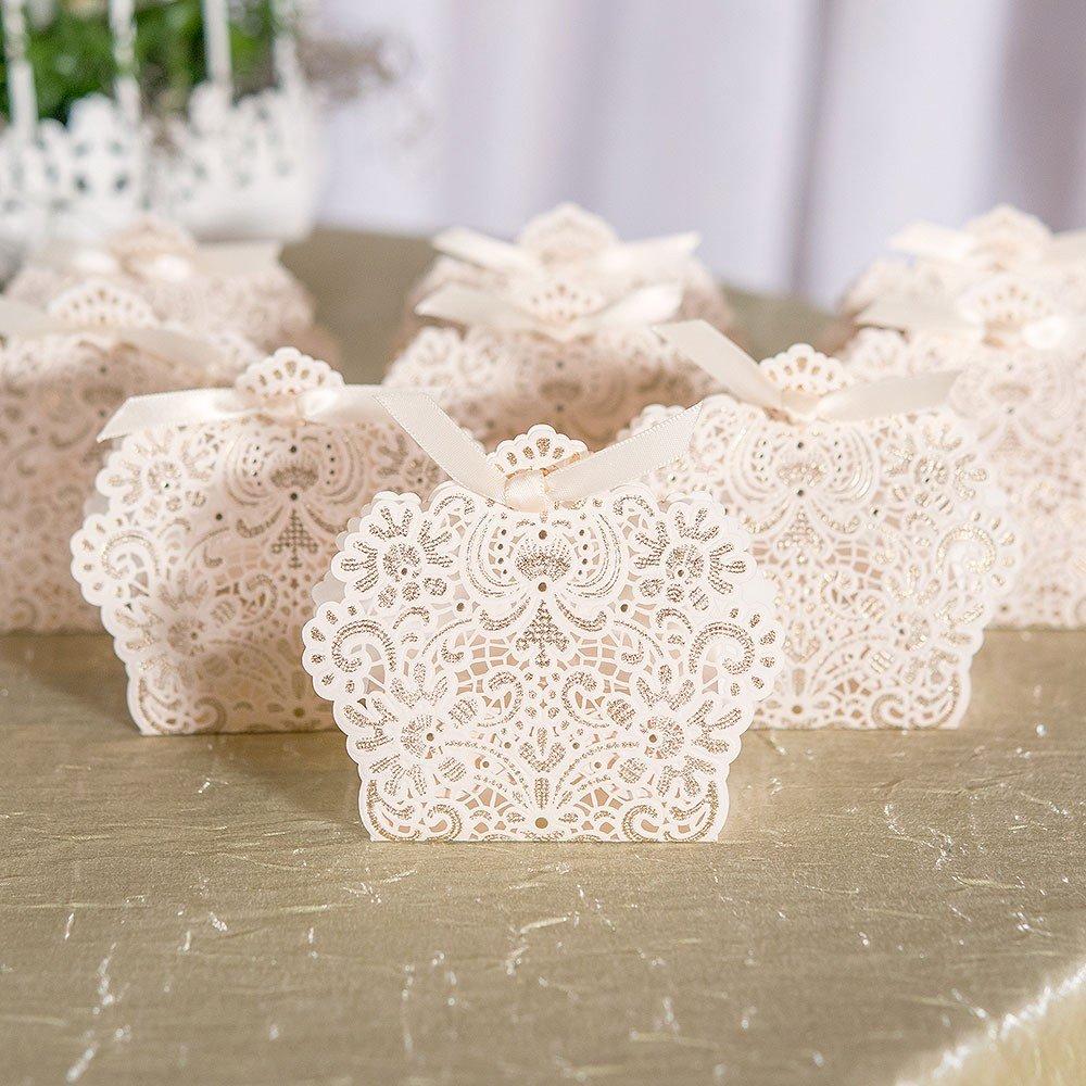 Foil Lace Wedding Favor Boxes