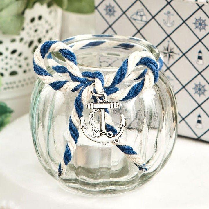 Nautical Glass Tea Light Holder Bridal Shower Table Decor