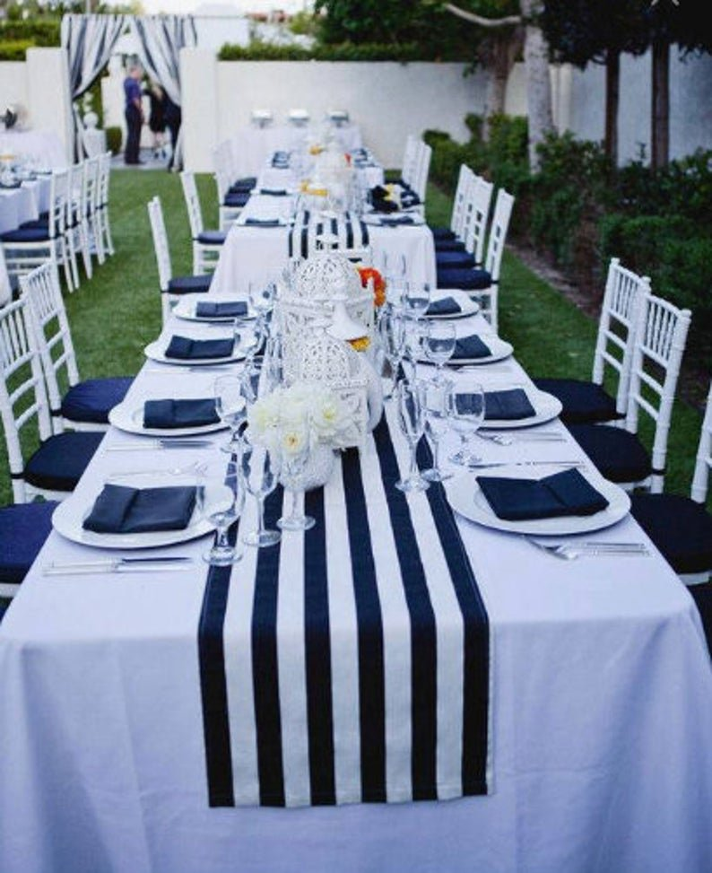 Nautical Bridal Shower Navy Blue & White Striped Tablecloth