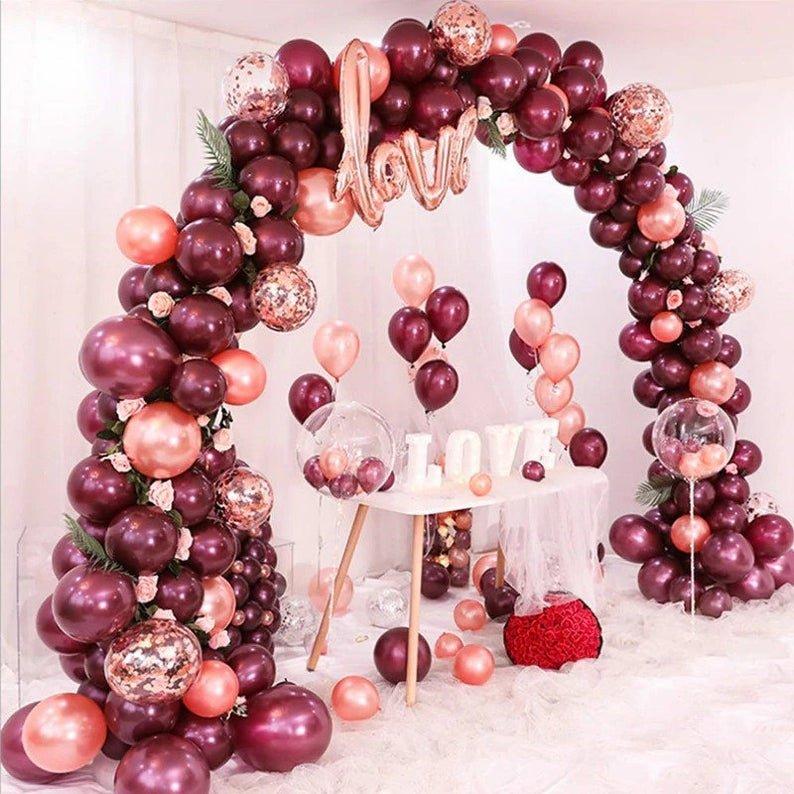 Rose Gold & Burgundy Balloon Arch Kit Bridal Shower Decor