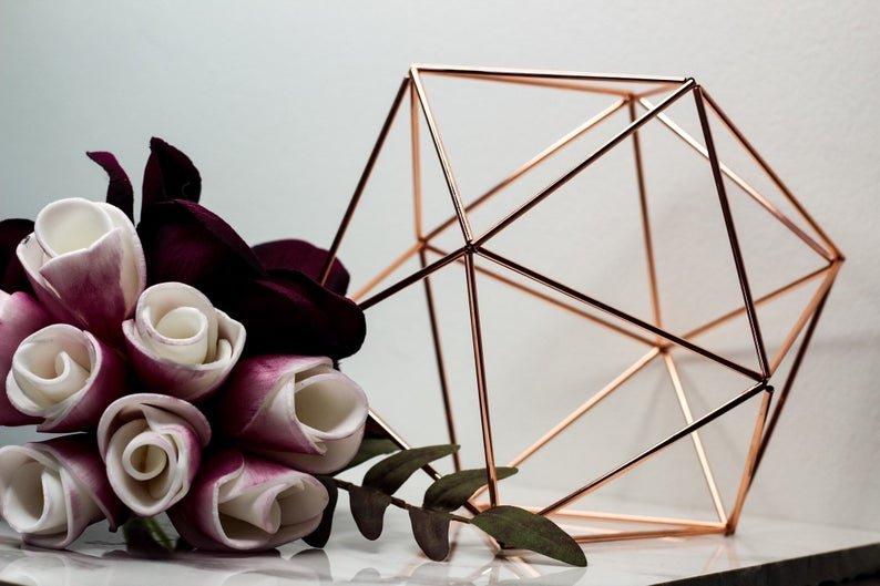 Rose Gold Geometric Centerpieces