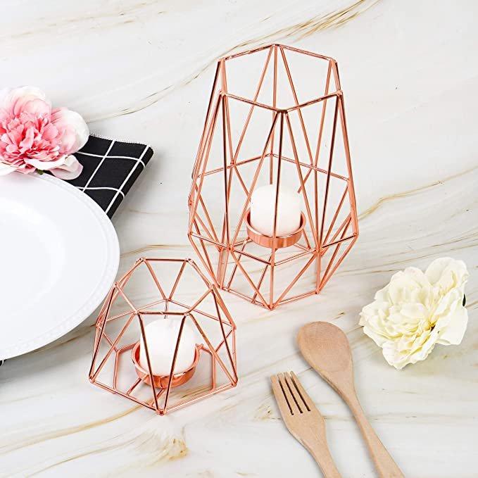 Rose Gold Geometric Tall & Short Tea Light Candle Holder Set
