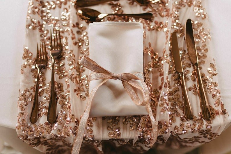 Rose Gold Vine Sequins Table Runners