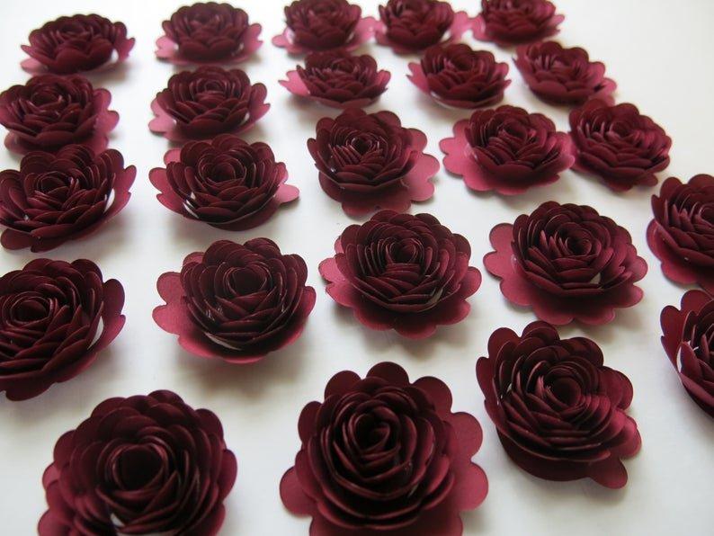 Scalloped Burgundy Rose Paper Flowers Bridal Shower Table Decor