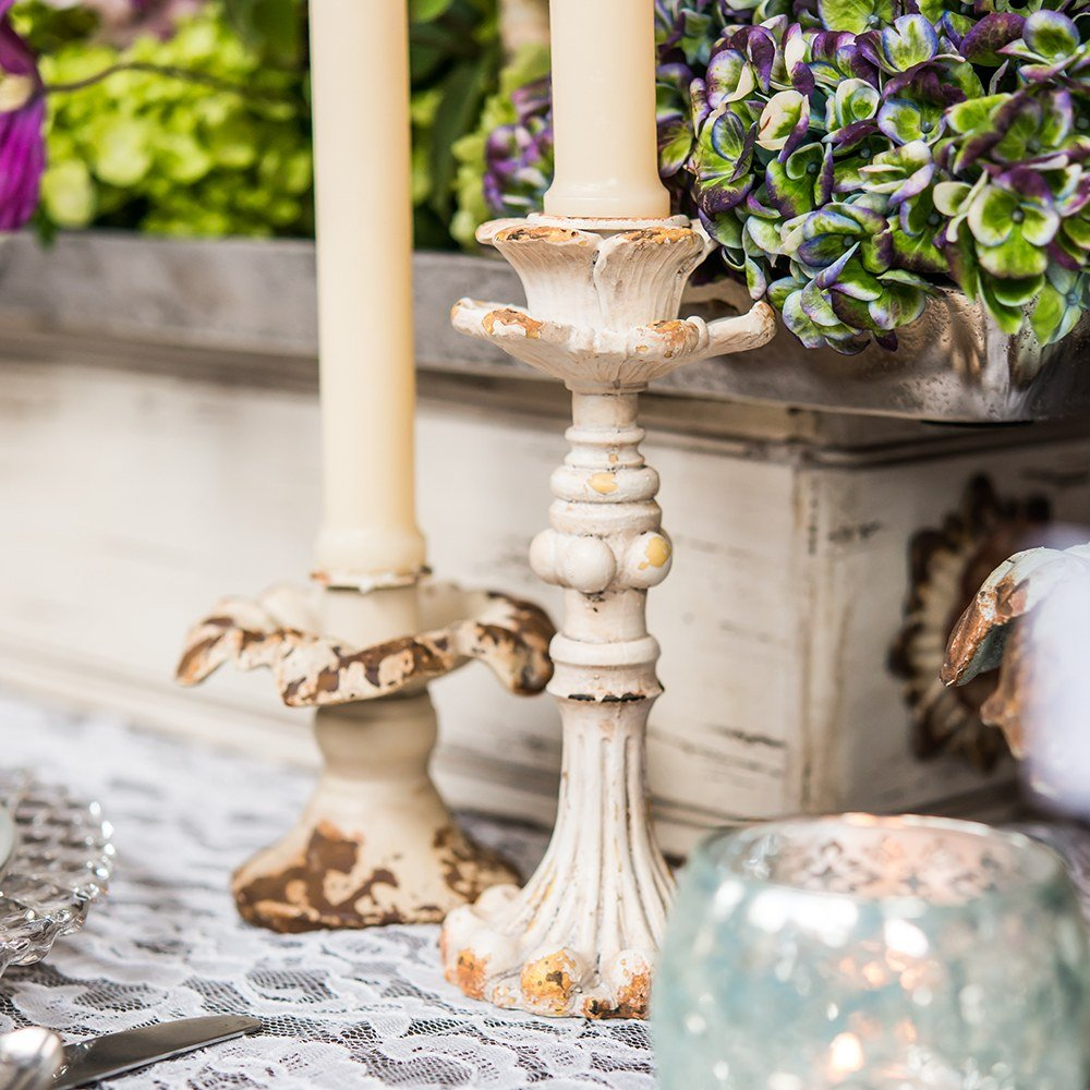 Vintage Inspired Taper Candle Holders Luxurious Wedding Table Decor