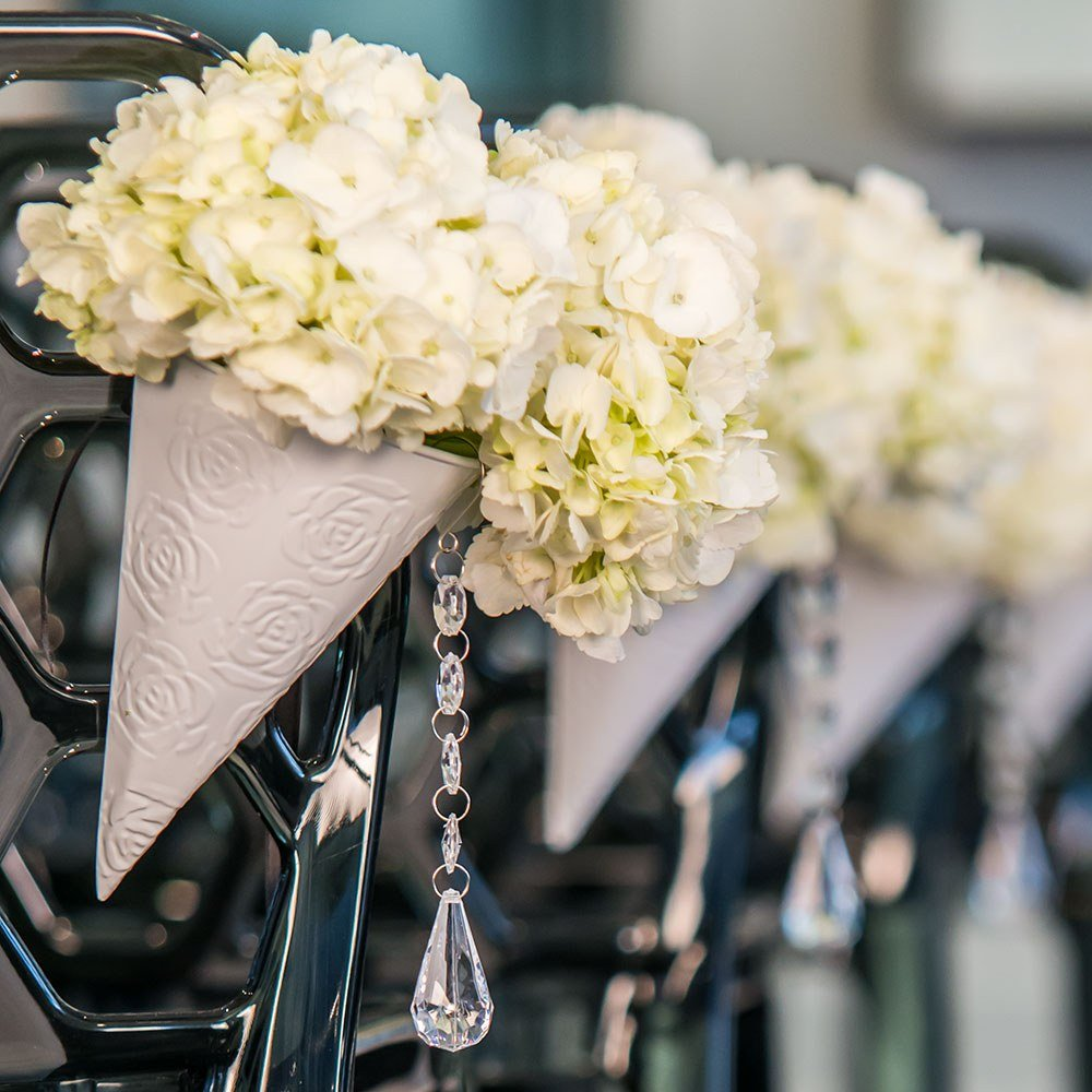 White Metal Cone With Embossed Rose Pattern Wedding Decor