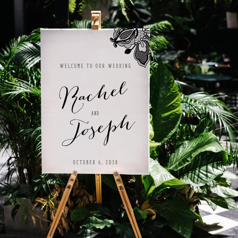 White Wedding Welcome Sign
