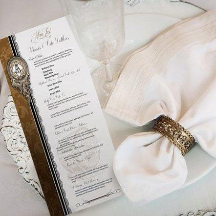 Baroque Style Wedding Reception Menu