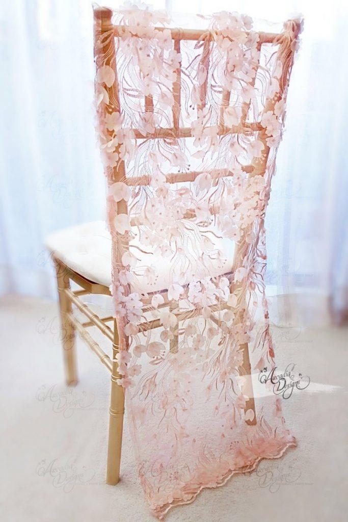 Flower Petal Appliques Chiavari Slipcover Chair Decor