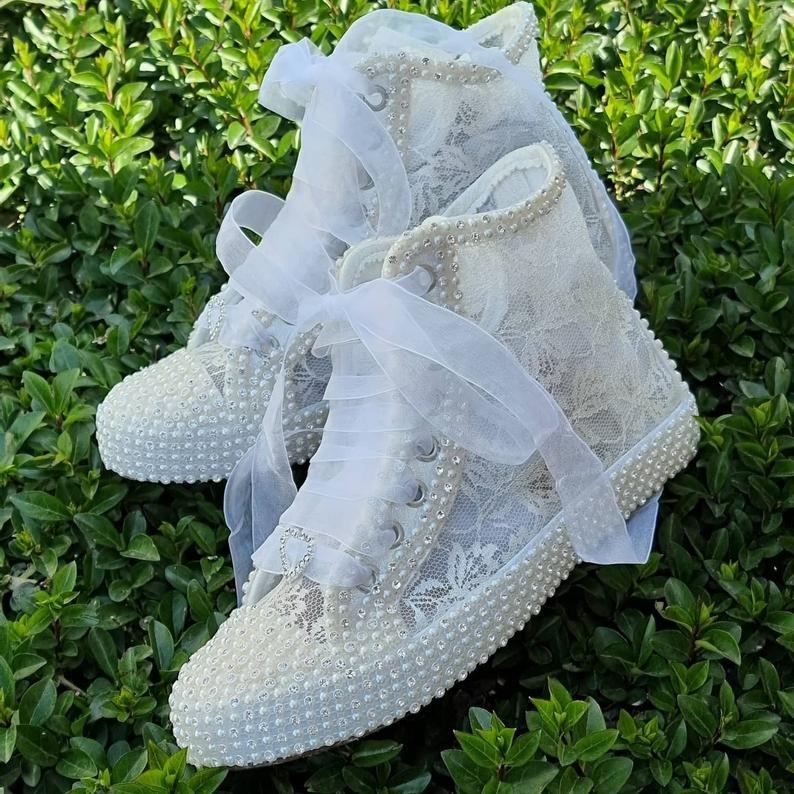 Custom Bridal Lace & Pearl Converse