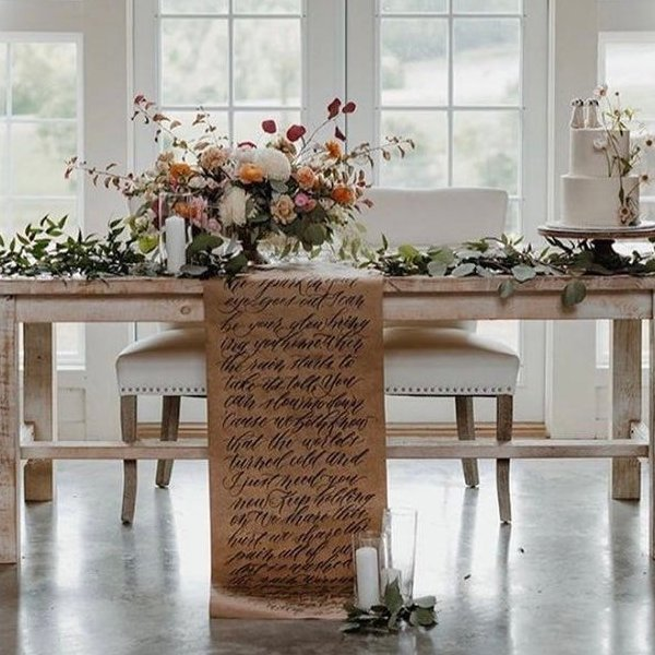 Custom Calligraphy Wedding Table Runner