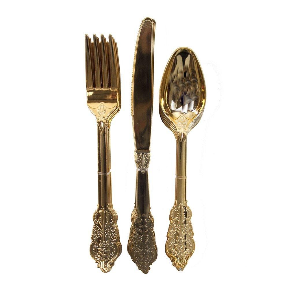 Gold Plastic Cutlery Set