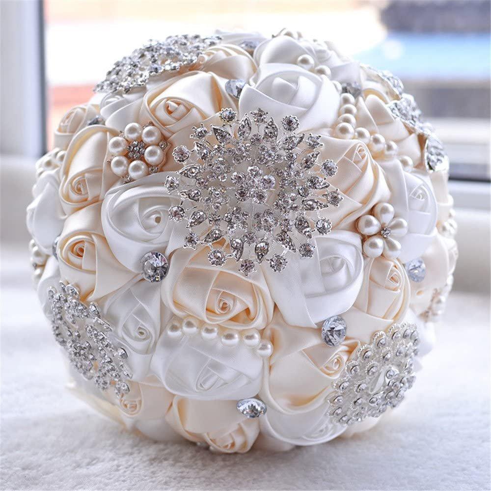 Ivory & Peach Brooch Bridal Bouquet
