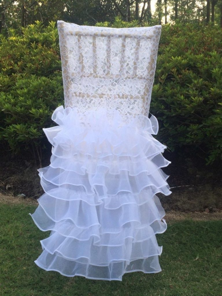 Lace Wedding Chair Cover With Layered Skirt