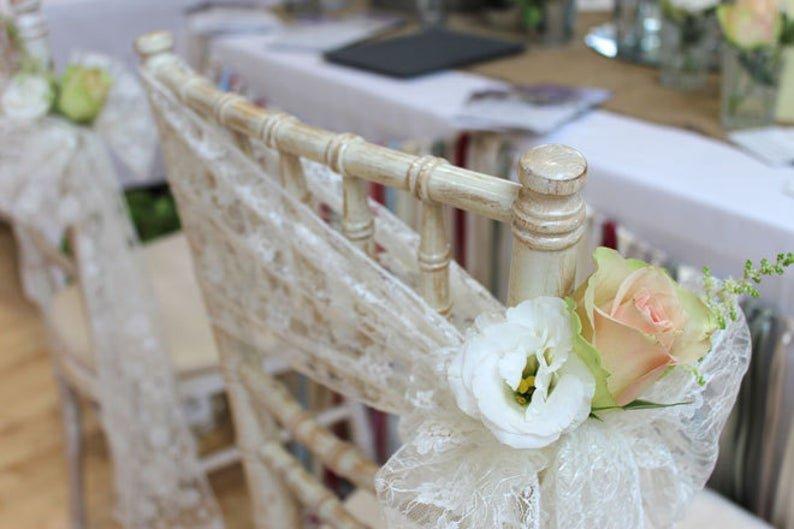 Romantic Wedding Lace Chair Sash