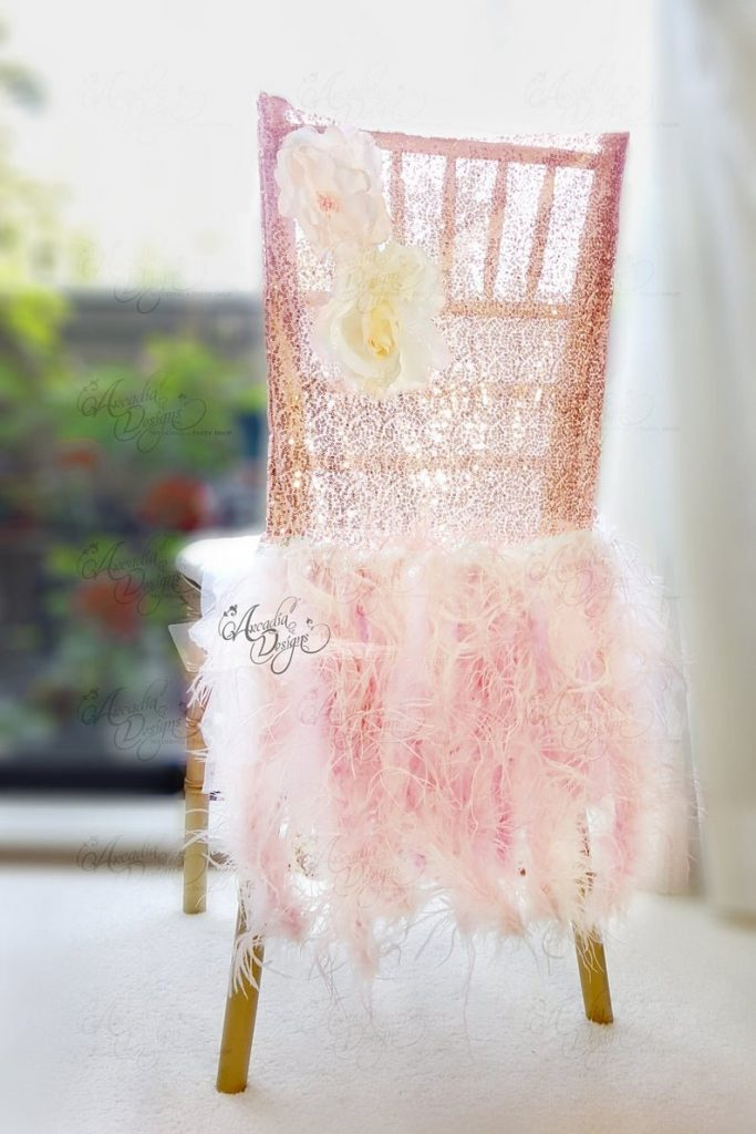 Ostrich Feather Sequin Wedding Chair Cover