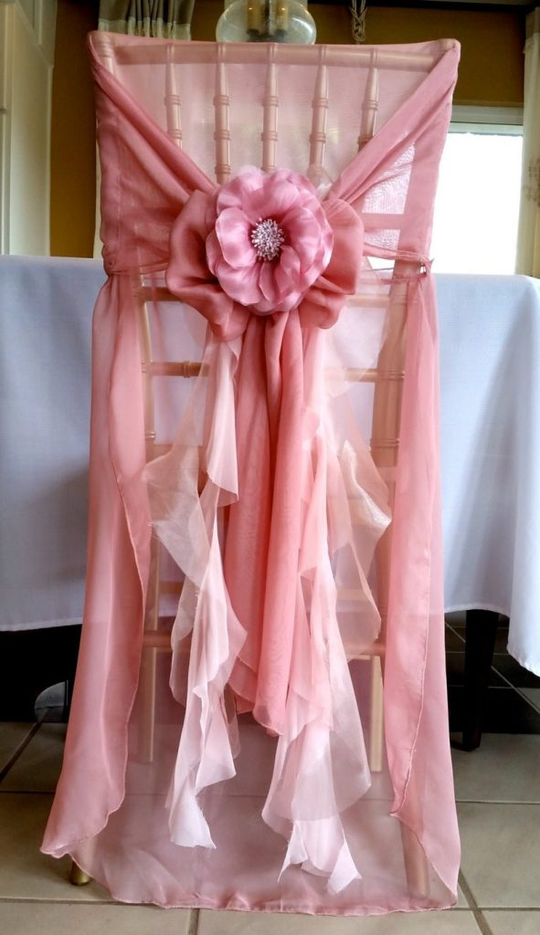 Exquisite raffled Chiffon Wedding Chair Cover
