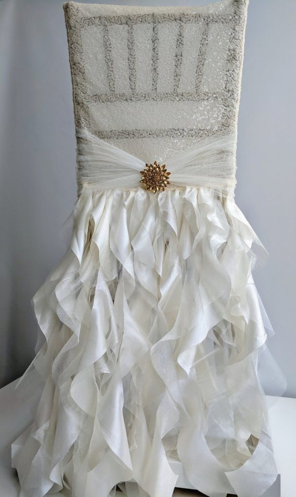 Sequin Ruffles Wedding Chair Cover