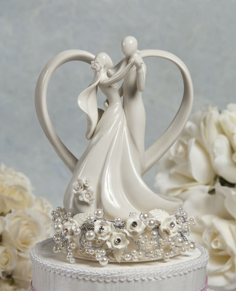 Vintage Inspired Rose Pearl Heart Wedding Cake Topper