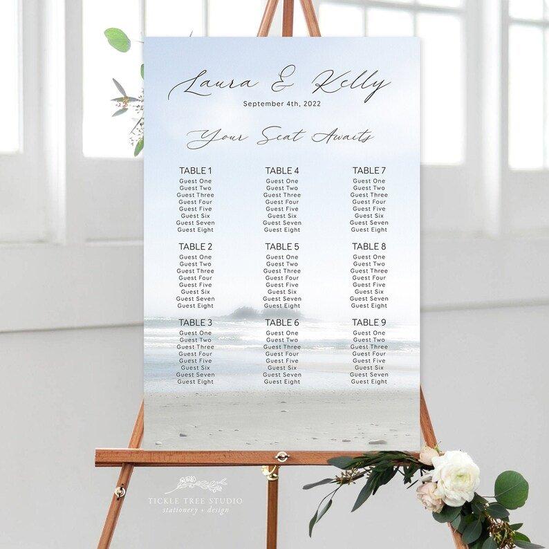 Beach Wedding Seating Chart - Table Plan
