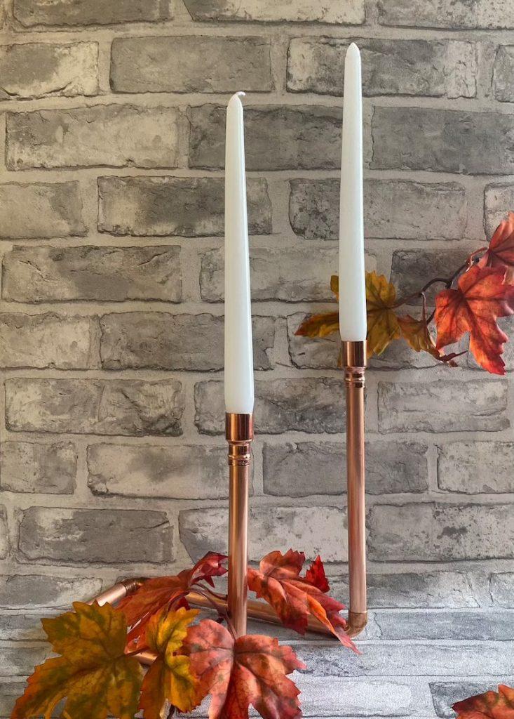 Copper Candlestick Wedding Table Decor