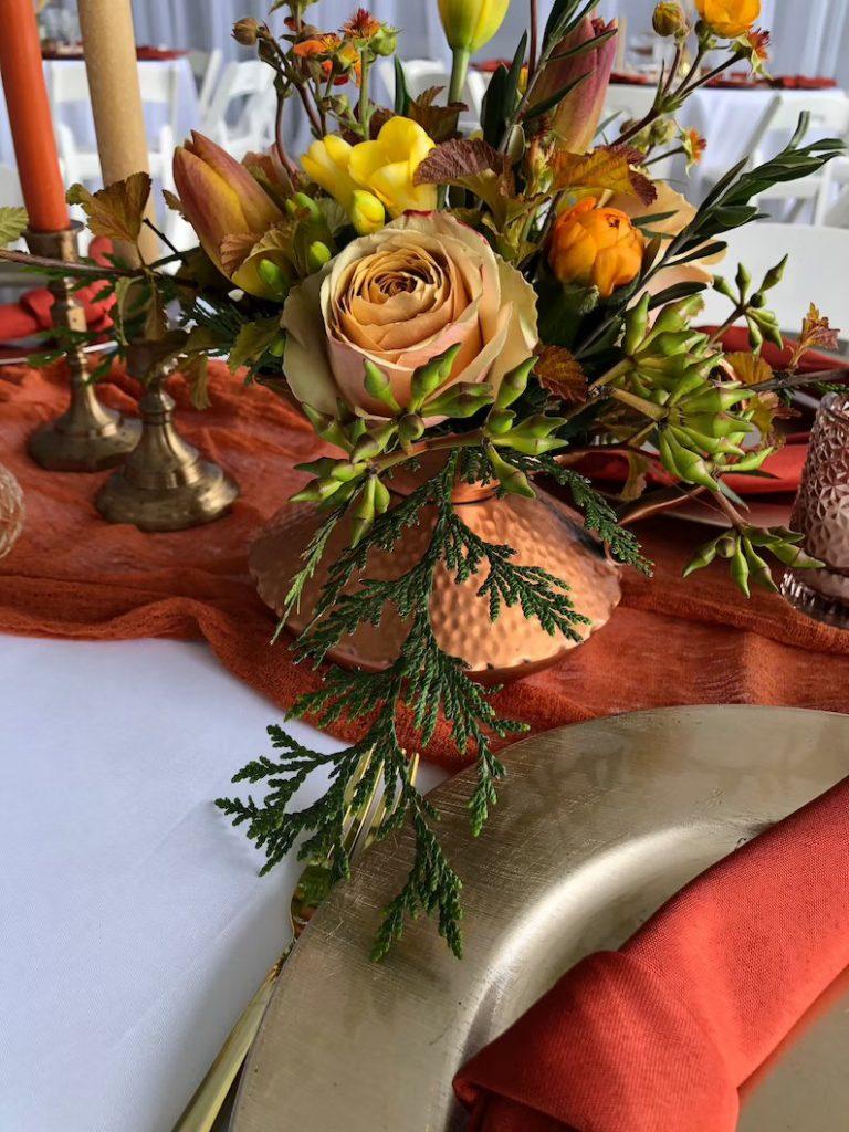 Rust Linen Gauze Table Runner Wedding Table Decor