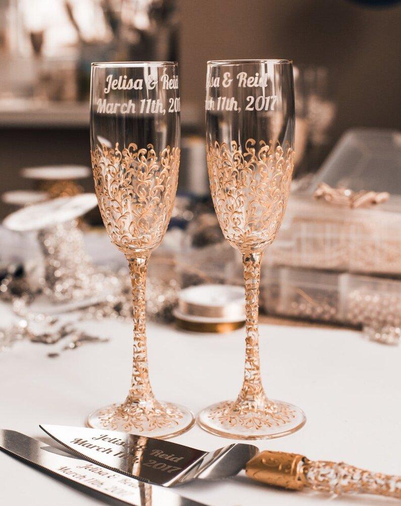 Copper Wedding Toasting Flutes