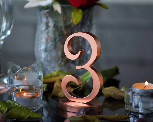 Copper Wooden Wedding Table Numbers
