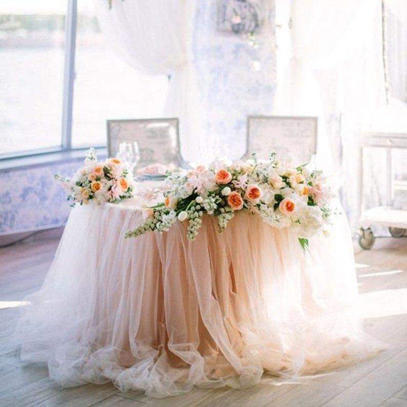 Long Floating Tutu Chiffon Table Skirt Sweetheart Table Decor