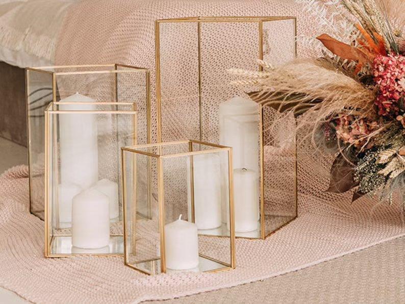 Metallic Glass Candle Holders