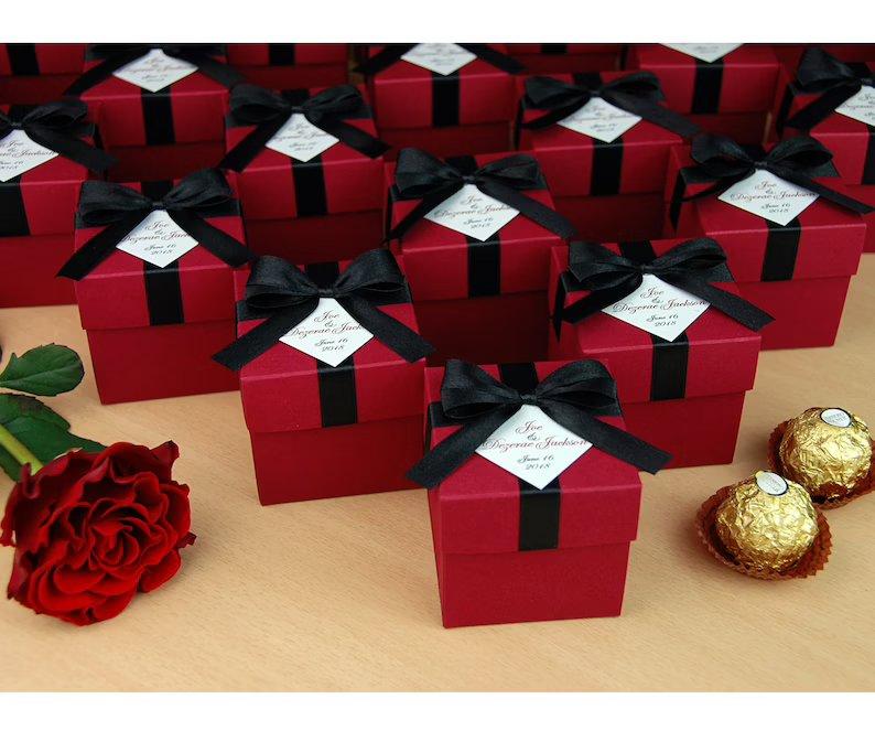 Black & Burgundy Favor Boxes