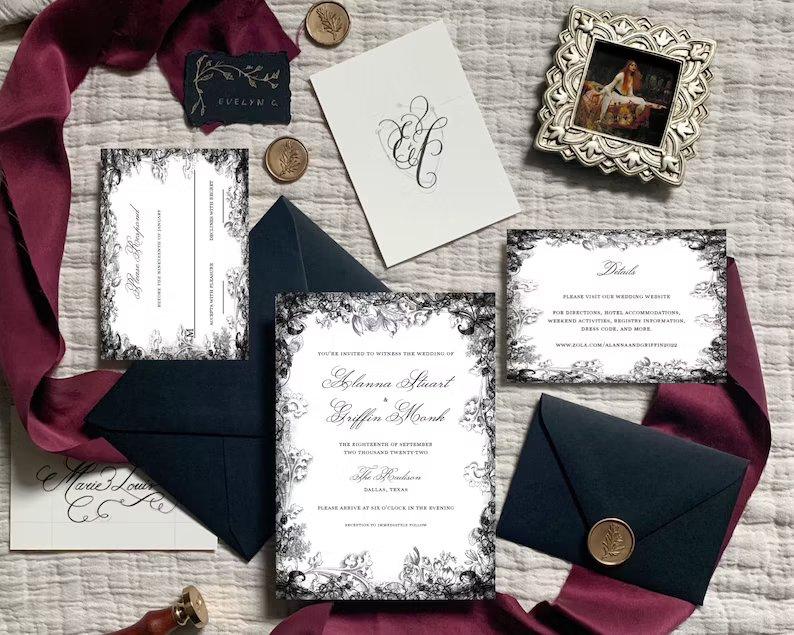 Moody Black & Burgundy Floral Wedding Invitation Template