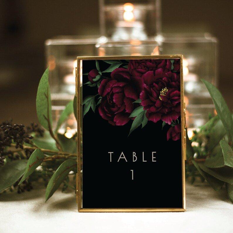 Moody Black & Burgundy Wedding Table Numbers