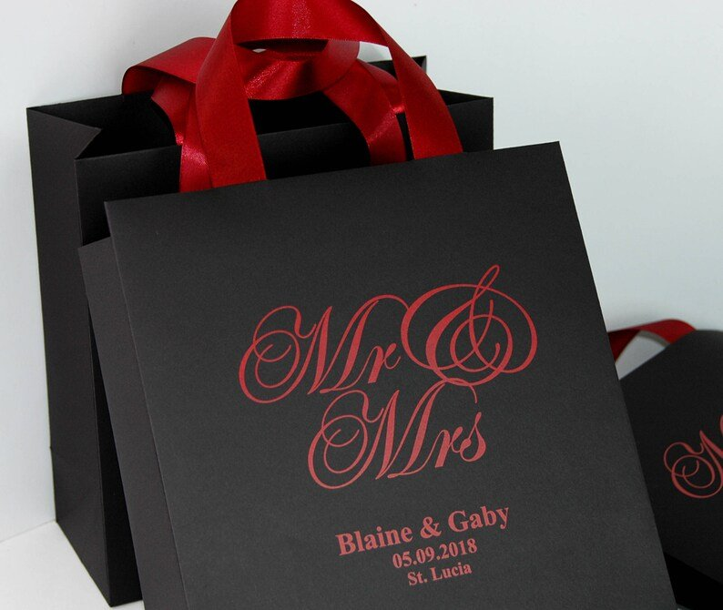 Black & Burgundy Wedding Personalized Welcome Bags