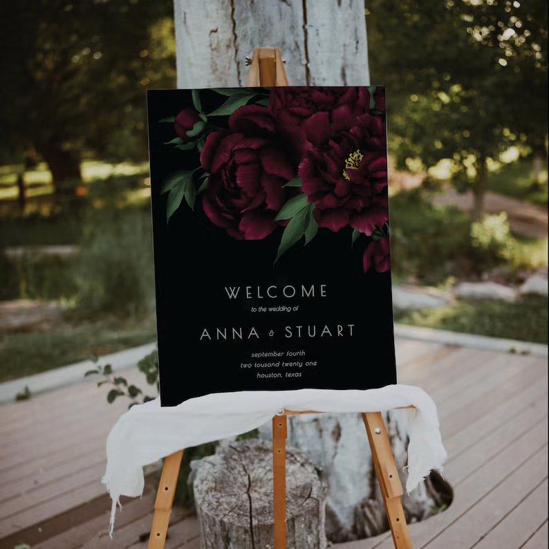 Moody Black & Burgundy Wedding Welcome Sign