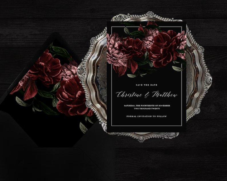 Moody Black & Burgundy Wedding Save The Date Template
