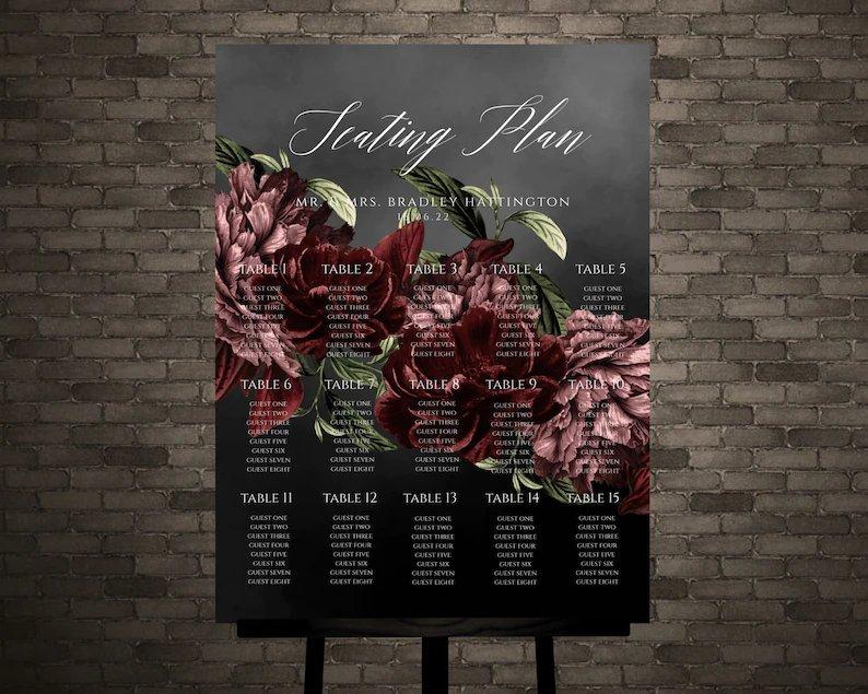 Moody Black & Burgundy Wedding Seating Chart