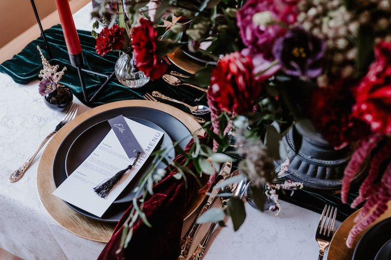 Velvet Moody Wedding Table Runner