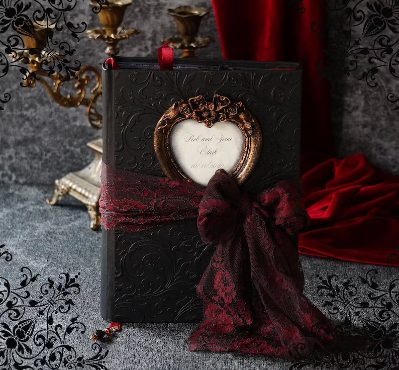 Personalized Black & Burgundy Moody Wedding Guest Book