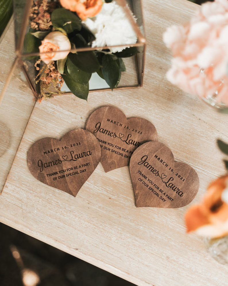 Personalized Heart Shaped Wedding Favors