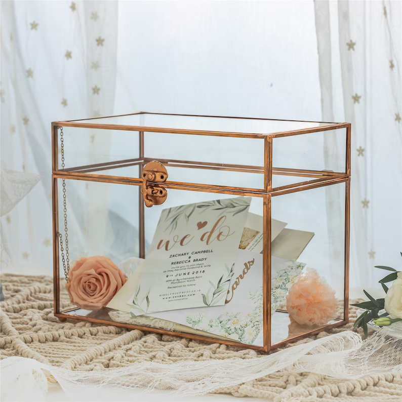 Pure Copper Geometric Rectangular Wedding Glass Card Box