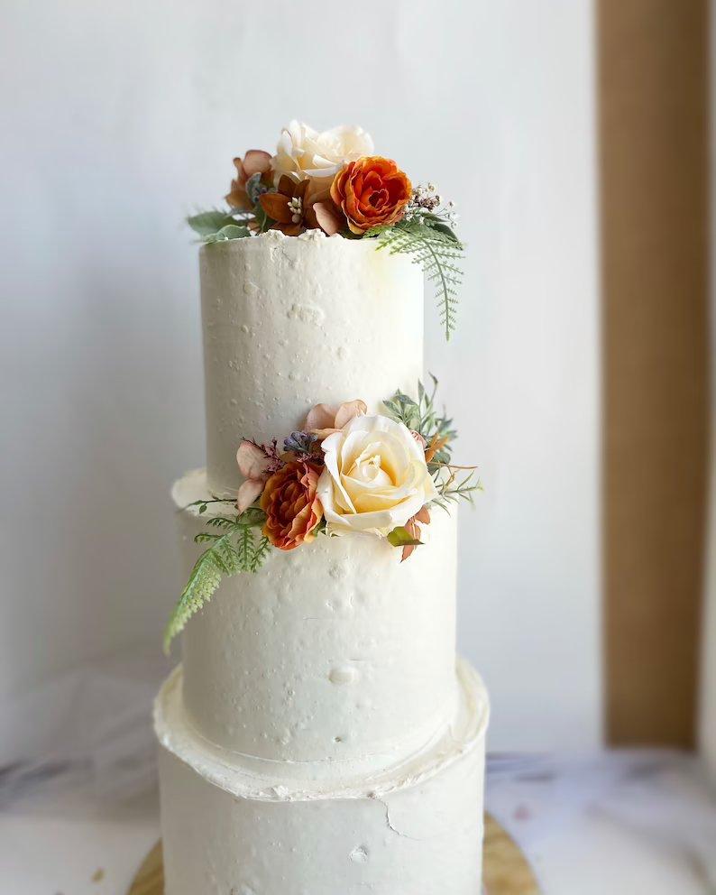 Rust Flower Wedding Cake Topper