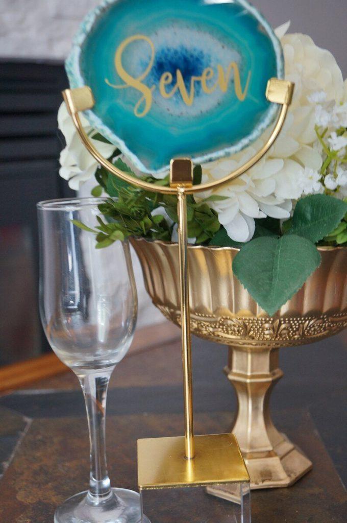 Teal Agate Wedding Table Numbers