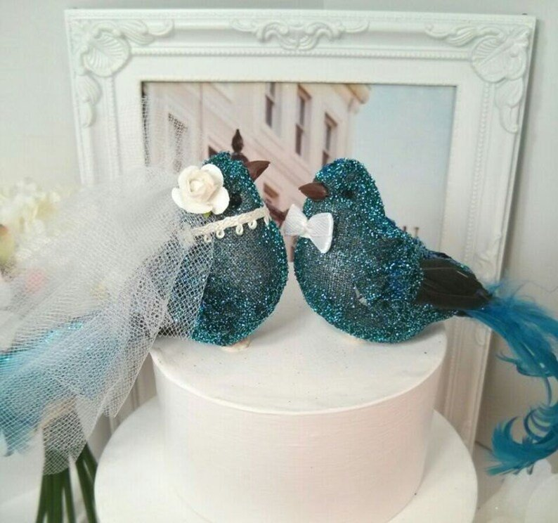 Teal Blue Turquoise Love Birds Wedding Cake Topper