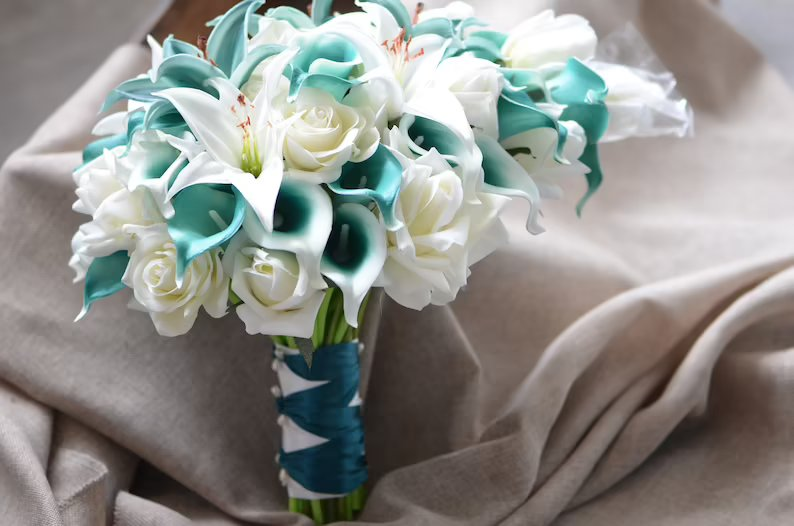 Teal Tiger Lily & Rose Bridal Bouquet