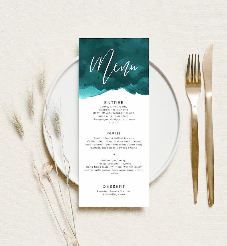 Teal Watercolor Wedding Menu Card