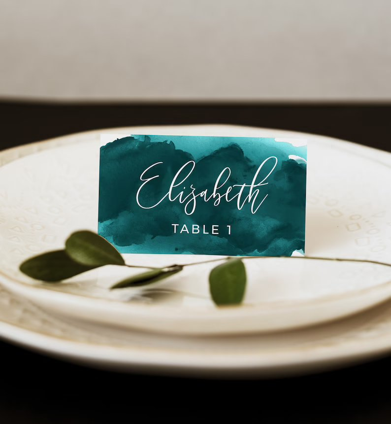 Teal Watercolor Wedding Place Card